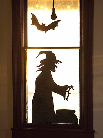 Witch Halloween window silhouette