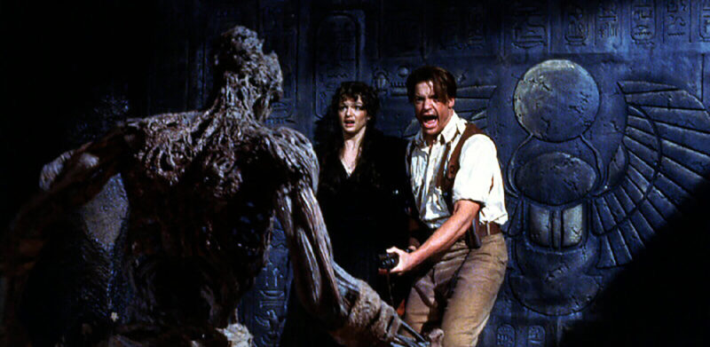 GEHJM8 Evelyn (Rachel Weisz), Rick O'Connell (Brendan Fraser) *** Local Caption *** 1932, Mummy, The, Die Mumie