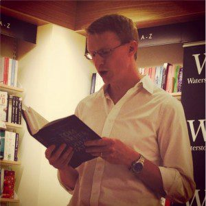 Tom Harper launching Zodiac Station at the York Waterstones last night.